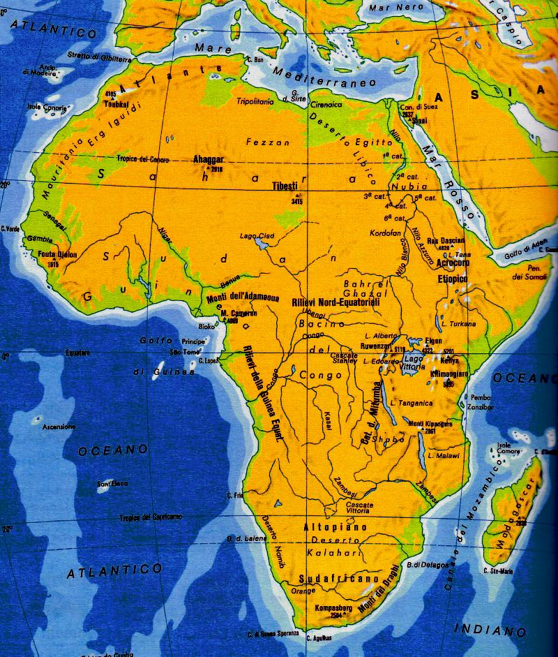 Immagini Cartina Fisica Africa.Cartina Fisica E Politica Dell Africa