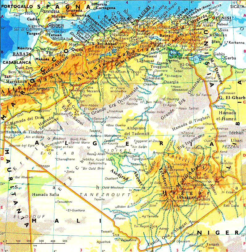 Cartina Geografica Dell Africa Fisica.Cartina Fisica E Geografica Dell Algeria
