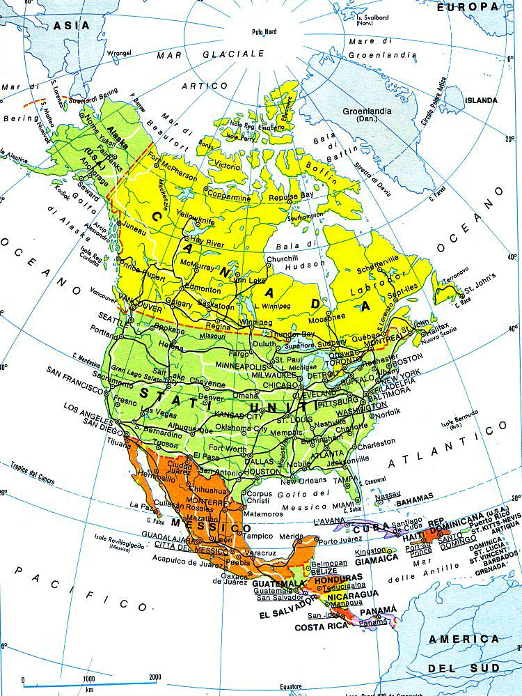 America Settentrionale Cartina Geografica Politica.Cartina Dell America Del Nord E Del Centro