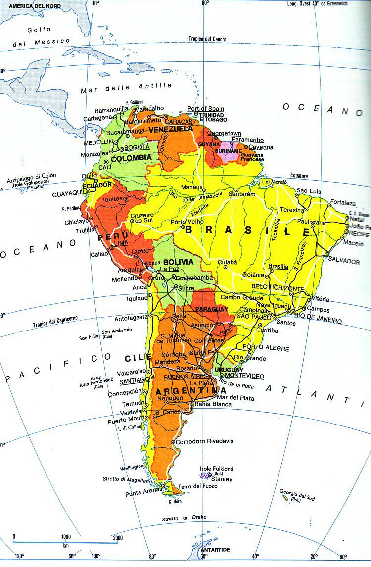 Cartina Fisica America Latina.Cartina America Sablon