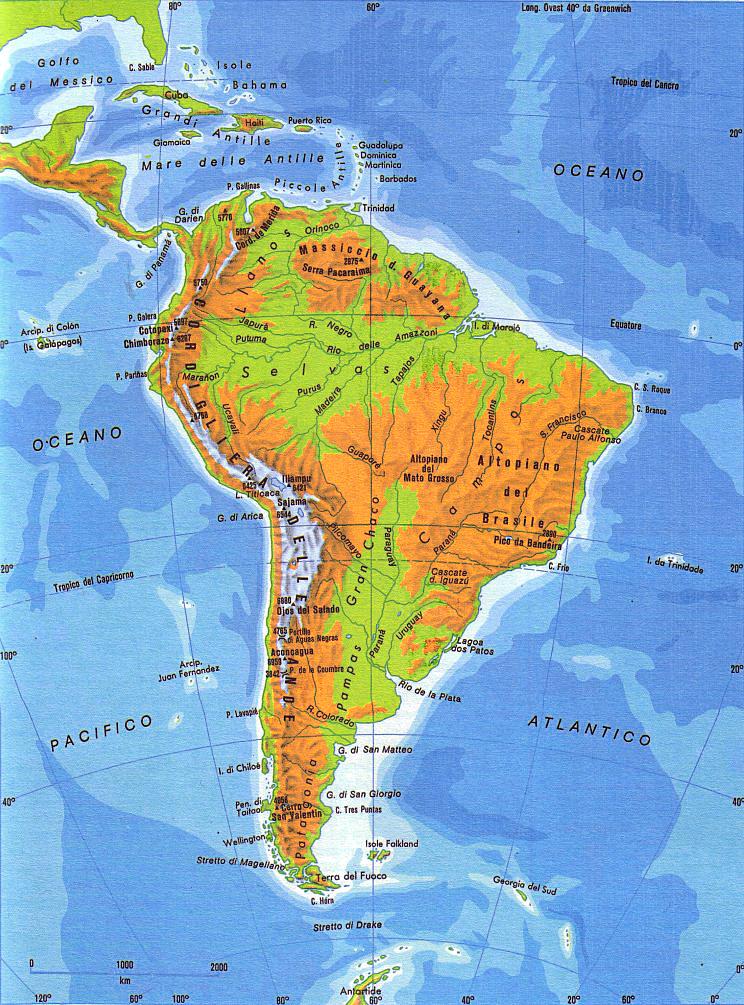 Cartina Fisica America Latina.Cartina Dell America Del Sud America Latina