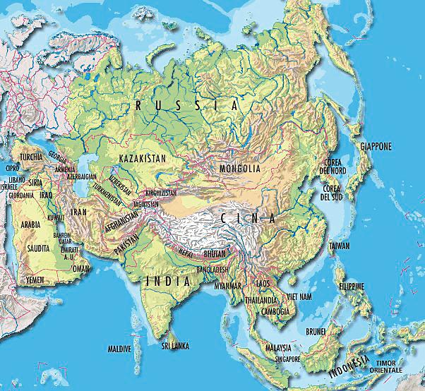 Cartina Politica Asia.Cartina Fisica E Politica Dell Asia