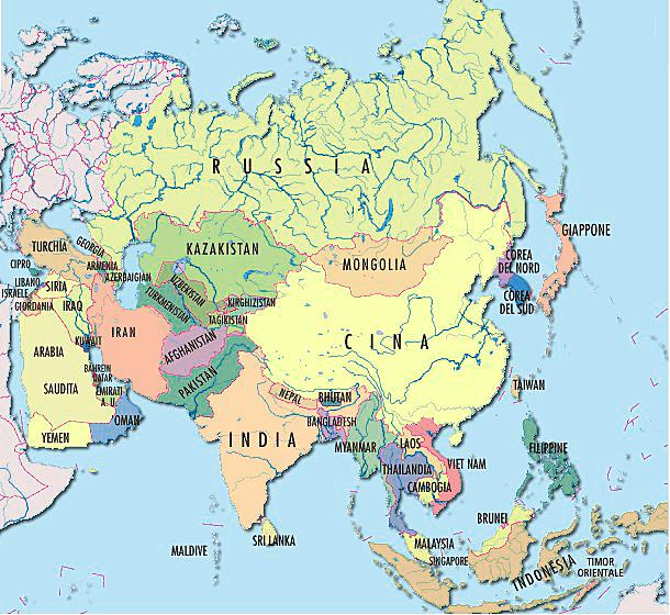 Cartina Fisica E Politica Dellasia