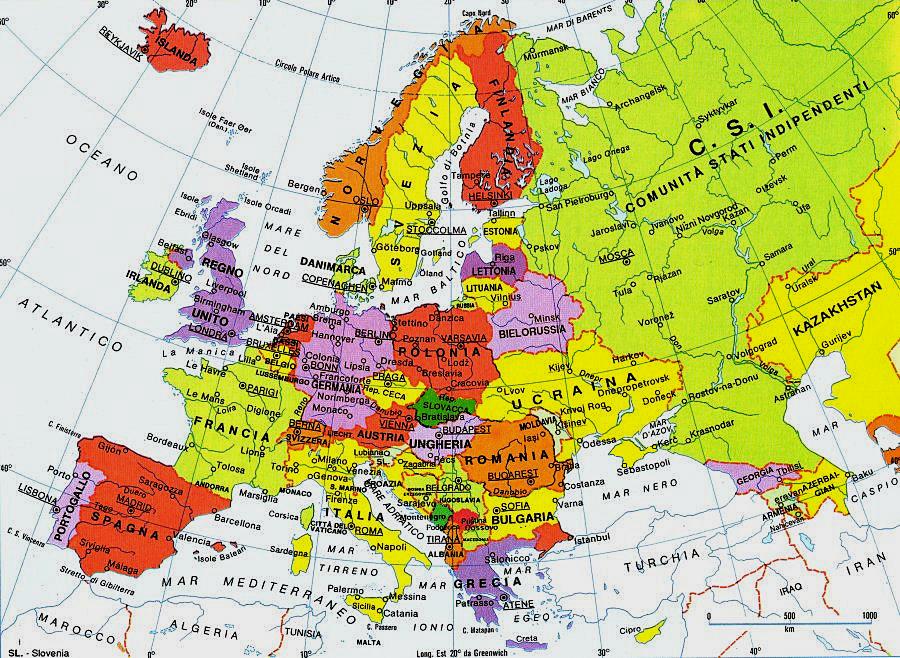Europa Cartina europa politica