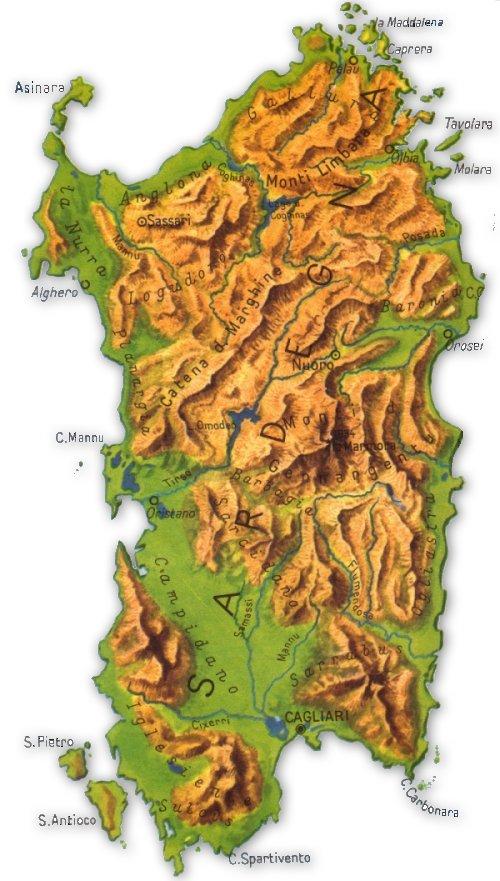 Immagini Della Cartina Geografica Della Sardegna.Cartina Fisica E Politica Della Sardegna