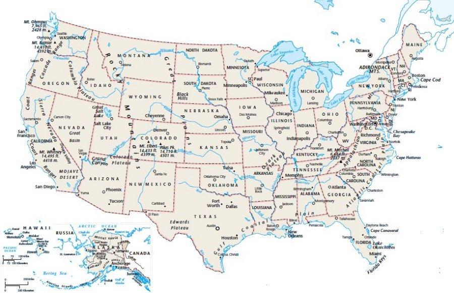 Cartina Stati Uniti Stati E Capitali.Cartina Politica Degli Stati Uniti Usa