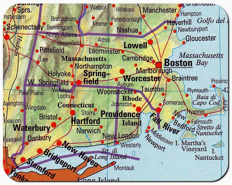 Boston Cartina Stati Uniti.Cartina Massachusetts