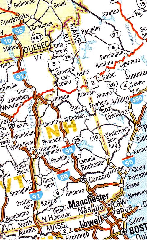 la Cartina geografica e stradale del new hampshire