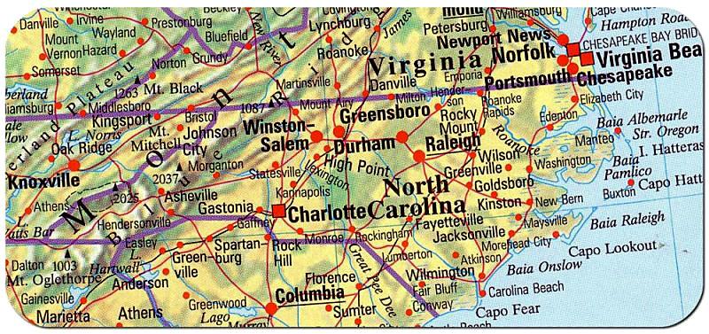 Cartina Nord.Cartina Carolina Del Nord