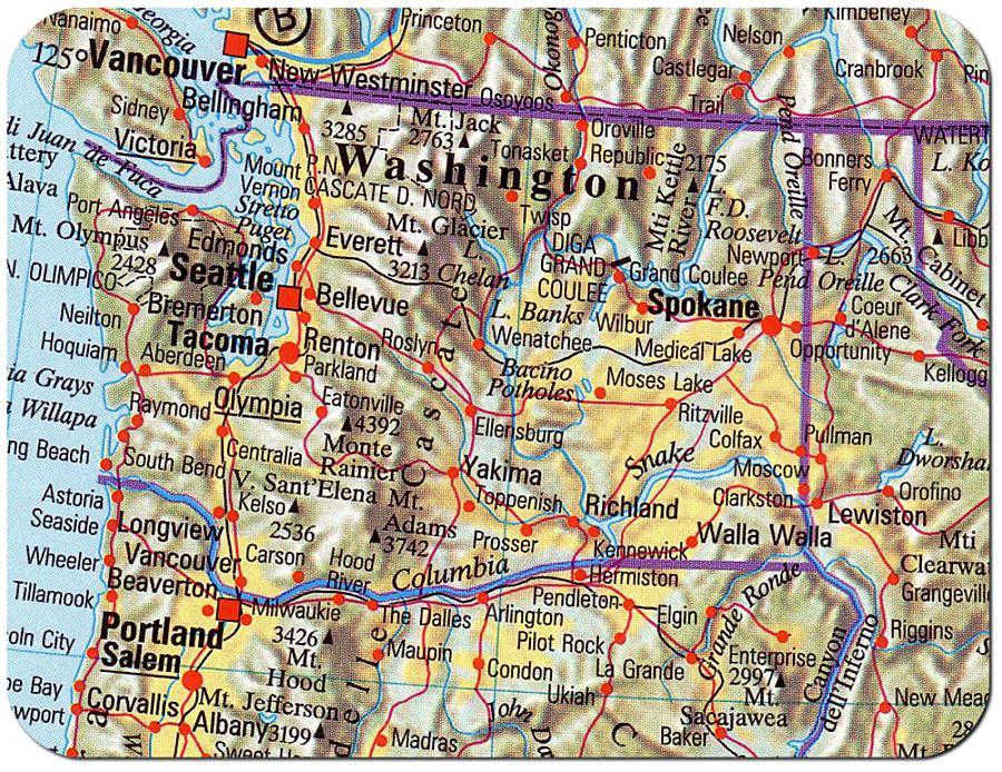 Cartina Washington.Cartina Stato Di Washington